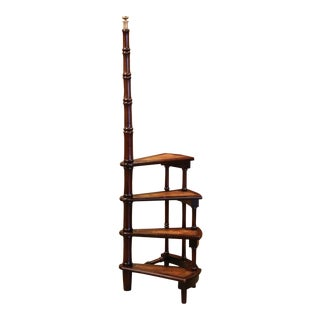 Mid-20th Century English Carved Mahogany and Leather Spiral Step Library Ladder For Sale
