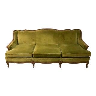 1950s Vintage Fogle Furniture Co. Victorian Style Velvet Sofa For Sale