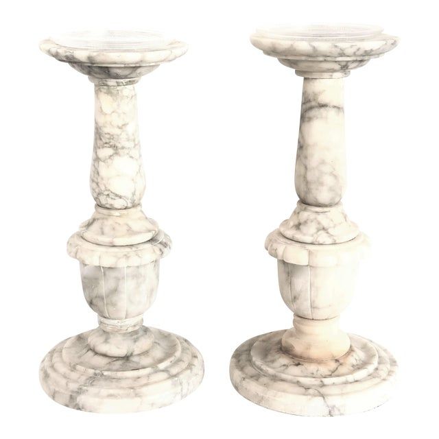 Large Carved Italian Alabaster Candleholders - a Pair For Sale