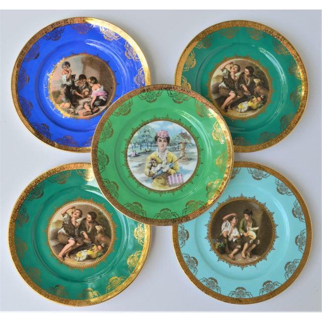 Boho Chic Antique Josef Kuba Jkw Bavaria Porcelain Plates - Set of 5 For Sale - Image 3 of 11