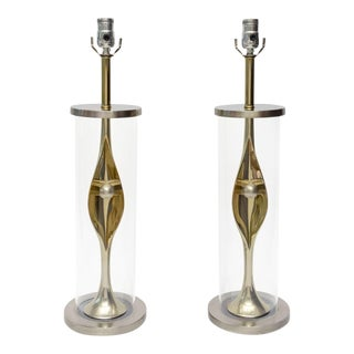 Pair of Mixed Metal and Lucite Mid Century Modern Laurel Lamps For Sale