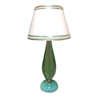 Vintage Murano Seafoam Green Lamp For Sale