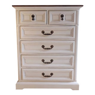 Farmhouse Style White Hand Painted 6 Drawer Highboy Chest of Drawers For Sale