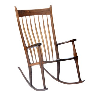 Hand-Crafted Wooden Rocking Chair For Sale