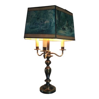 1940s Brass Three Candle Table Lamp with Victorian Scenes Polygon Paper Shade For Sale