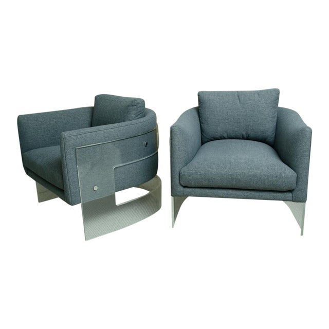 Pair of Milo Baughman Arm Chairs With Rounded Lucite Backs For Sale