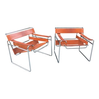1970s Vintage Leather and Chrome Wassily Style Chairs - A Pair For Sale