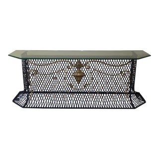 Large Vintage Designer Custom Hand Made Iron Console Table Spanish Style For Sale