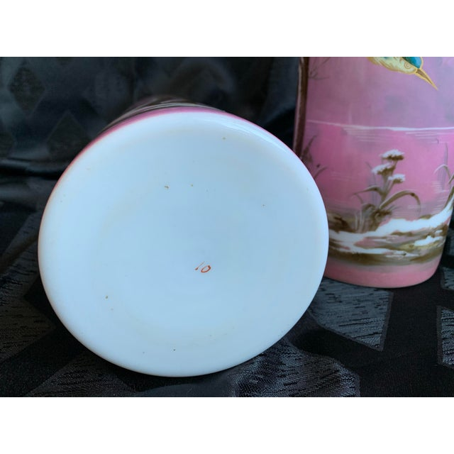 19th Century French Baccarat Opaline Pink & White Glass Vases - a Pair For Sale - Image 12 of 13