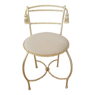 Late 20th Century Hollywood Regency Gold Gilded Vanity Chair For Sale