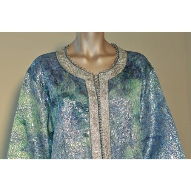 Elegant Moroccan caftan. brocade metallic aquamarine blue embroidered with silver threads. Maxi dress gown circa 1970s....