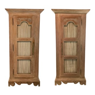 Vintage Blonde Wood French Country Cabinets Pair For Sale