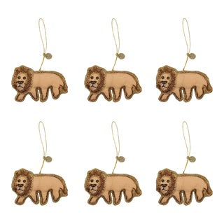 Doing Goods Holiday Ornaments Loopy Lion Set - Set of 6 For Sale