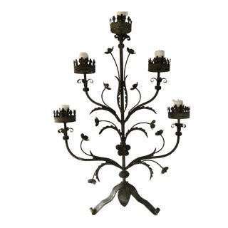 1960s Vintage Iron and Metal Candelabra For Sale