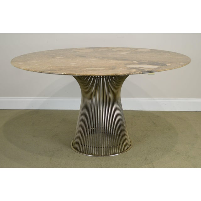 "Mid-Century Modern Warren Platner for Knoll 54"" Round Marble Top Dining Table For Sale - Image 3 of 13"