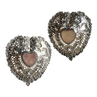 Pair Gorham Sterling Heart Trinket Dishes For Sale