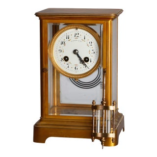 Antique Tiffany & Co Brass and Crystal Regulator Clock, circa 1890 For Sale