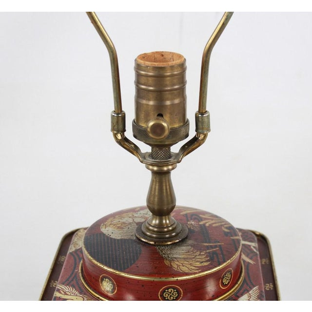 Brass 1960s Frederick Cooper Chinoiserie Tea Canister Converted Table Lamp For Sale - Image 7 of 9