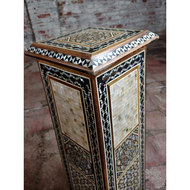 """Syrian Pair of Vintage """"Tower Shaped"""" Petite Inlaid Stands For Sale In Los Angeles - Image 6 of 10"""