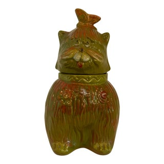 1968 Signed Scarpino Cat Cookie Jar For Sale