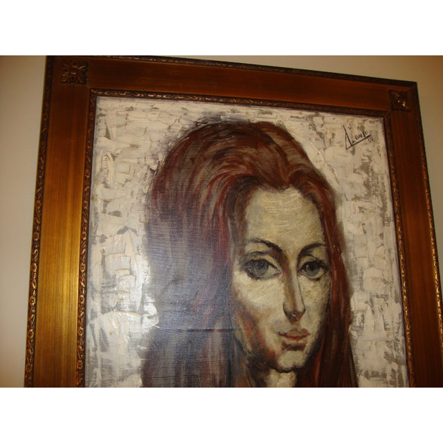 """""""Young Lady With Flowing Hair"""" Oil on Canvas Portrait Painting For Sale - Image 4 of 6"""