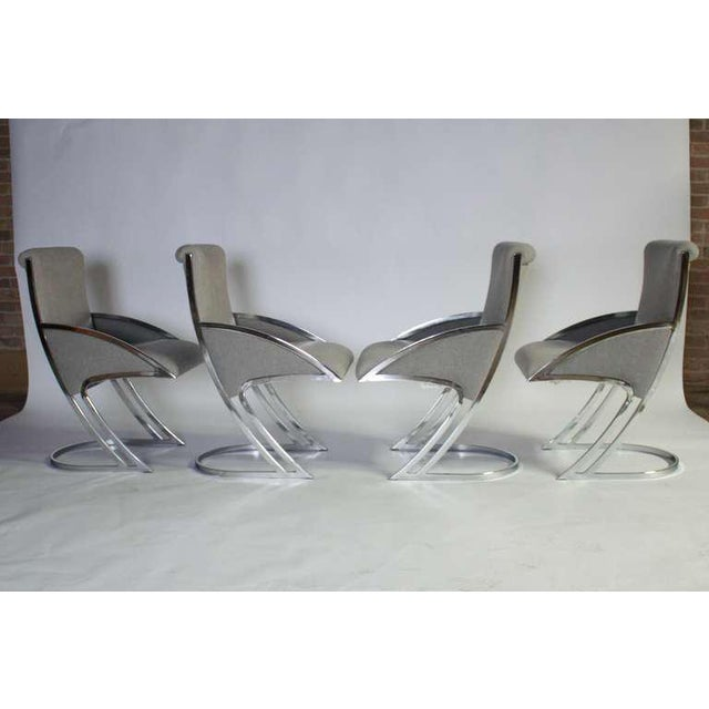 Set of Four Chrome Dining Chairs For Sale - Image 9 of 9