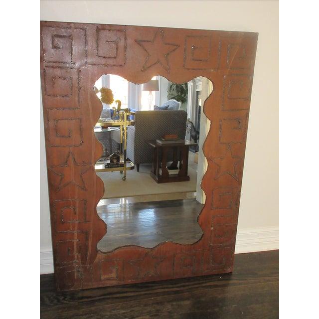 Rustic Brutalist Steel & Iron Mirror - Image 3 of 6
