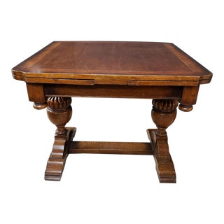 Victorian English Oak Turned Urn Base Drawleaf Trestle Table For Sale