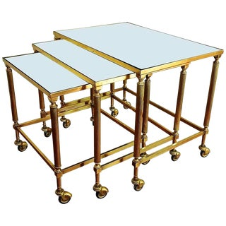 1950s French Brass Mirrored Top Nesting Tables - Set of 3 For Sale