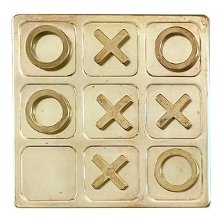 Vintage Brass Tic Tac Toe Set For Sale