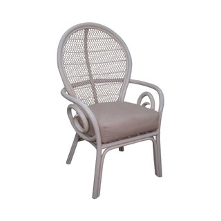 Surfside Casual Painted Rattan Fan Back Armchair For Sale