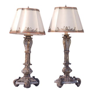 18th C. Italian Silver-Leafed and Painted Candle Lamps For Sale