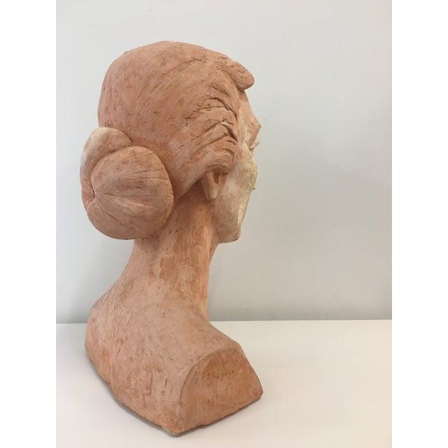 Orange Vintage Plaster Female Bust For Sale - Image 8 of 13