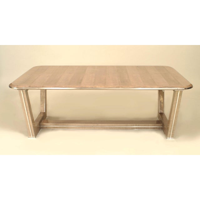 Maxime Old French Brass-Trimmed Makore Coffee Table, Manner of Maxime Old For Sale - Image 4 of 4