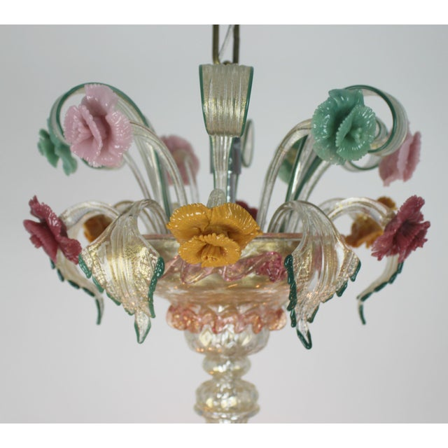 Italian Venetian Glass Chandelier For Sale - Image 4 of 11
