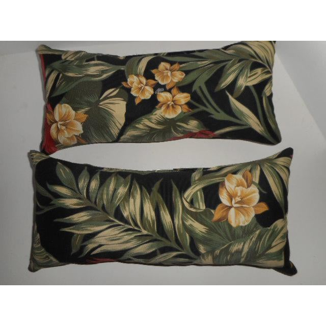 Dorothy Draper Style Palm Leaf & Orchid Pillows - a Pair - Image 3 of 8