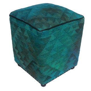 Arshs Delcie Teal/Gray Kilim Upholstered Handmade Ottoman For Sale