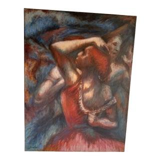 Vintage Canvas Painting Women Dancing For Sale