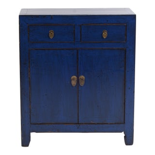 Chinese Navy Blue Distressed Elm Cabinet For Sale