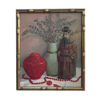 Vintage Still Life Painting on Canvas Chinoiserie Art Original For Sale