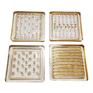 Smyers Art Deco Mid Century Modern Gold Relief & Clear Glass Coasters - Set of 4