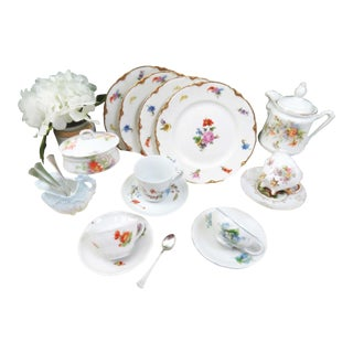 Vintage Mismatched Demitasse & Dessert Set - 20 Pieces For Sale