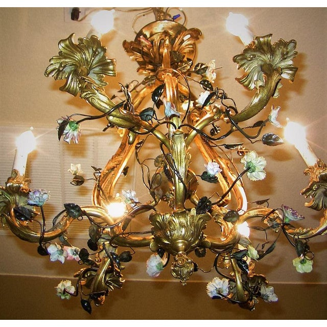 19c French Gilt Bronze Chandelier With Porcelain Flowers For Sale In Dallas - Image 6 of 13