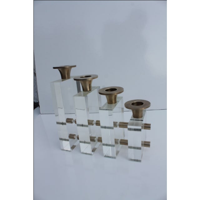 Mid-Century Modern Karl Springer Style Lucite and Brass Candleholder For Sale - Image 3 of 9