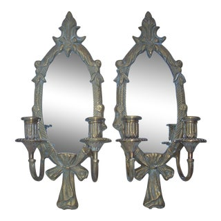 1960s Vintage Brass & Mirror Wall Sconces - a Pair For Sale