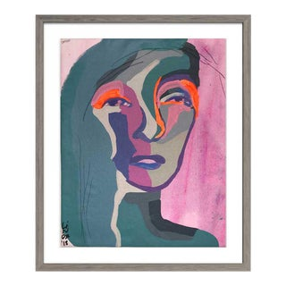 Contemporary Abstract Portrait Painting, Blue For Sale