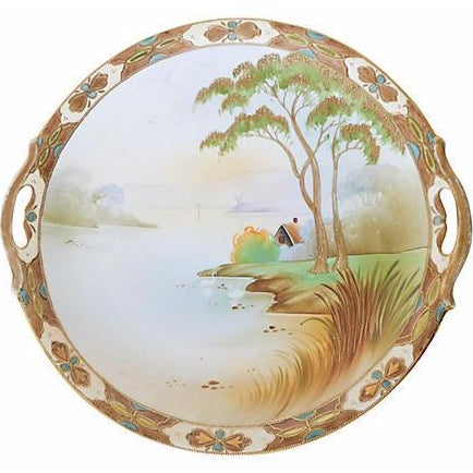 Antique Hand-Painted Nippon Platter For Sale