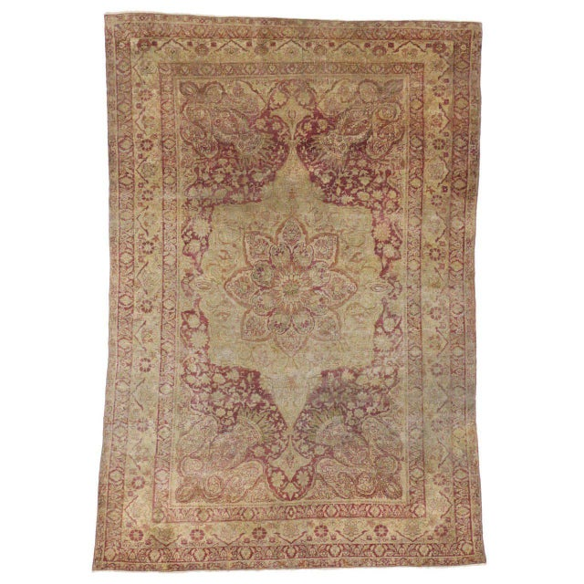 Antique Turkish Hereke Rug with Art Nouveau Style in Muted Colors For Sale - Image 5 of 5