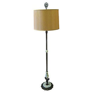 1920's Brass Floor Lamp with Slag Glass For Sale