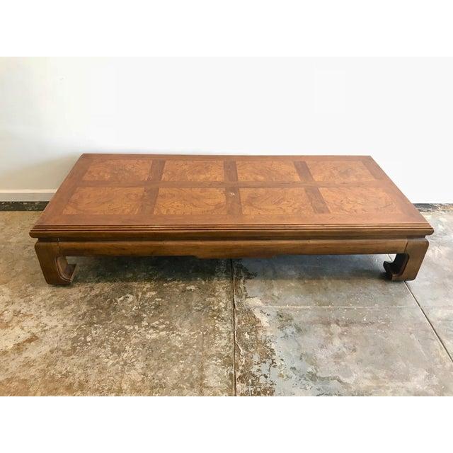 Burl Coffee Table Legs: Henredon Ming Style Burl Wood Low Coffee Table